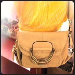 Fabulous leather bag- crossbody + metal handles